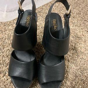 Black wedge target heels